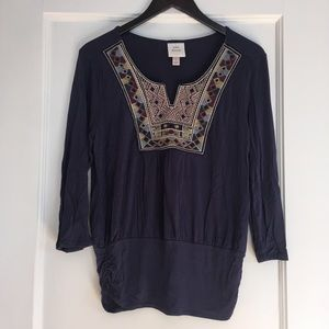 Navy Blouse with Decorative Collar